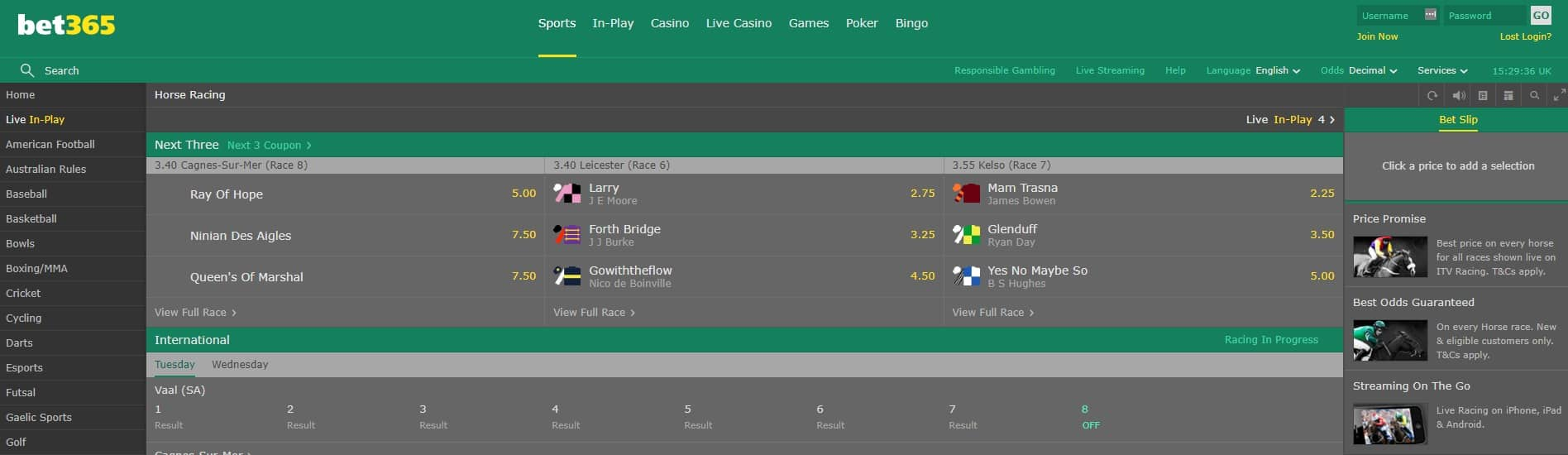 bet365 Online Sports Betting Horse Betting Area